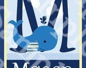 """Personalized with any Name & Letter! """"Nautical Blue Whale"""" 8x10 inch Initial/Name Nursery Art Print So Cute!"""