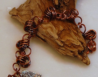 Chunky Copper Coil Bracelet with Silver Charm
