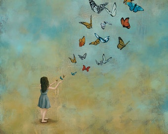 Butterfly Print, Girl Releasing Butterflies, titled With Open Hands, Limited Edition Paper Print