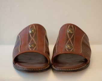 hippie boho vintage leather sandal moccasin, size 8.5