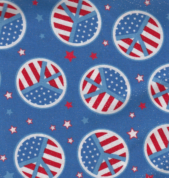 Eustheelf Sale Sparkly 4th of July Patriotic USA Peace Sign Flag Red White & Blue Cotton Quilt Fabric 45