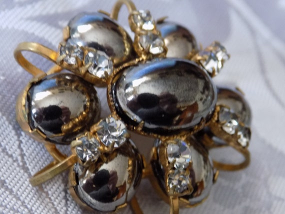 Vintage brooch, Schreiner look black glass cabochons and sparkling clear crystals retro dimensional brooch, vintage jewelry