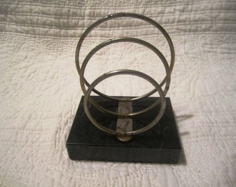 Brass and marble mail holder organizer vintage office storage