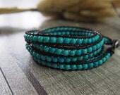 5 Wrap Bracelet Turquoise Bracelet  Leather Bracelet Leather Wrap Bracelet Beaded Bracelet 9869