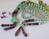 Chrysoprase n Jade necklace - tassels - Tourmaline - gemstone jewelry - green stone necklace - yoga - Buddhist - Tribal - Boho