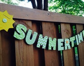 Summertime garland, hanging letters, home decoration, party decoration