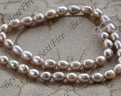 6-8mm Luster Pure purple rice Freshwater pearls,White Pearl Beads,loose bead full strand 15.5inch