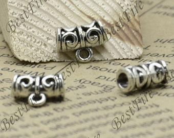 24pcs of Antique silver flower big hole partition findings ,Charms Bracelet Connectors findings, distance piece beads
