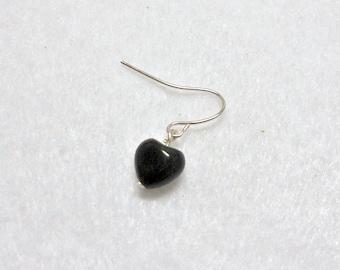 Men's Earring, Small Black Obsidian Stone Heart Earring, Men's jewelry