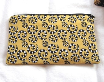 Black and Yellow Fabric Zipper Pouch / Pencil Case / Make Up Bag / Gadget Sack