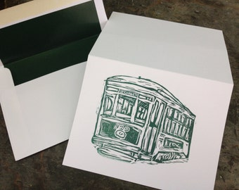 Linocut New Orleans St. Charles Streetcar note card