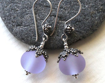 Lilac Sea Glass & Sterling Silver Earrings, Lampworked Jewelry, Lilac Glass, Purple Earrings, Handmade in Sweden