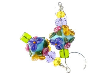 Flower Lampwork Earrings, Turquoise Glass Bead Earrings, Floral Yellow Lavender Earrings, Lampwork Jewelry, Dangle Earrings, Drop Earrings
