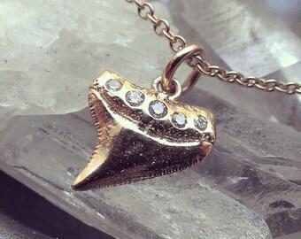 14K Gold Shark Tooth Pendant 14K Shark Tooth Charm Womens Gift 14K Charm Necklace Black Diamond 14K White Gold Charm 14K Rose Gold Charm