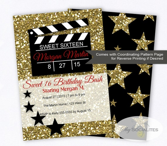 hollywood glamour movie party invitation sweet sixteen, Party invitations