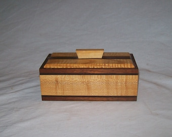 Fancy Walnut with Tiger Malpe trim and inlay catch all box