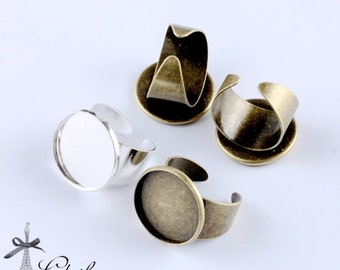 10PCS 20mm Adjustable Silver/Antique Bronze plated brass Rings jewelry ring blank setting  (Nickel Free)-(RINGSS-99.100)