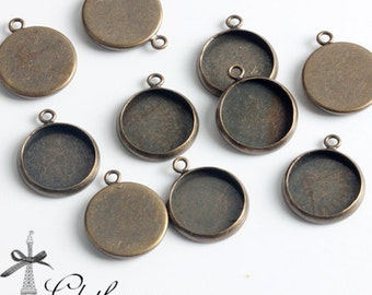 500Pcs 12mm Antique Bronze plated Raw Brass Round Cameo Base Setting Charm / Pendant  (SETHY-199)