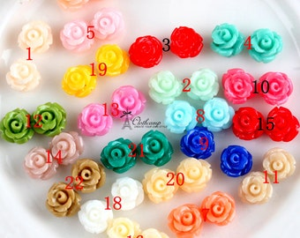 New Choose the Color  22colors 7mm Beautiful Mix Colorful Flower Resin Cabochon - (CAB-EQ)