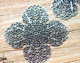 Antiqued Silver  plated RAW brass Filigree  Jewelry Connectors Setting Cab Base Connector Finding  (FILIG-AS-30)