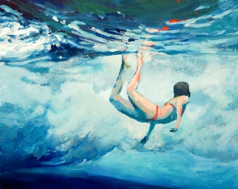 Art Print Beneath the Break Giclee Print of original painting of woman beneath the pulse of the waves
