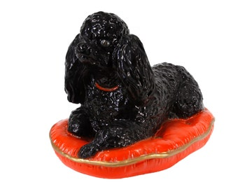 Poodle on a Pillow - Large Ceramic Dog