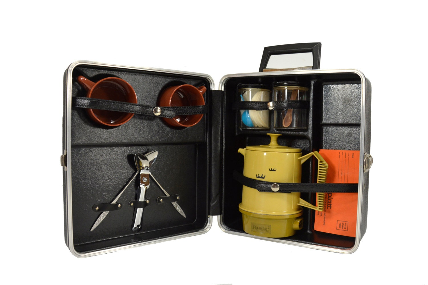 Travel Coffee Maker Kit : Portable Coffee Travel Bar Set by Platt Vintage 1970 s by PhatDog