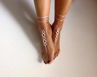 barefoot sandals,  bead, white barefoot sandles, wedding, Bikini, Bridal Sandals, Bridal Jewelry, shoes, Women, Beach, READY TO SHIP