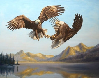 "Bald Eagle ""Courtship"" wildlife bird Large 36x48 original oils on canvas painting by RUSTY RUST / E-172"