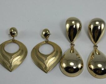 Vintage 80s Earrings Large Giant Gold Metal Destash 2 Pairs