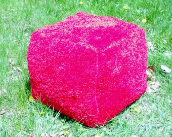 Red Pouf Hassock Ottoman