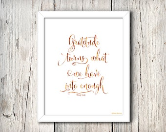Gratitude Watercolor Typography Print - Gratitude turns what we have into enough