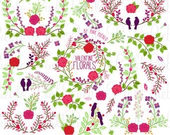 Vintage Valentine's Day Floral Clipart Clip Art, Vintage Wedding Laurel Wreath Leaf Clip Art Clipart Vectors - Commercial and Personal Use