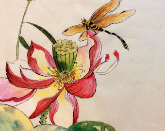 Dragonfly on Lotus Flower Painting