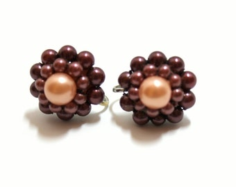 Faux Pearl Earrings Screw Back Earrings  1950s Brown Pearls  Cluster Earrings  Pearl Clusters Vintage Pearls  1950s Fashion  Costume Jewelry