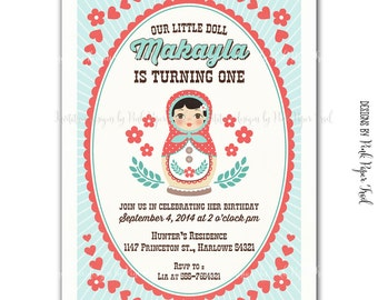 Matryoshka / Babushka Nesting Doll Invitation, Customizable wordings, Print your own invitation