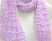 Knit Scarf, Lightweight Scarf, Womens Fashion Scarf, Cotton Knit Scarves, Lavender