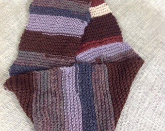 Brown and gray striped infinity scarf