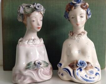 1940's Vintage Cordey Porcelain Lady Busts