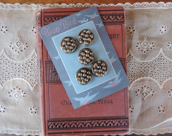 Buttons Vintage Sewing Notion Old Button with Silver Color Finish Celluloid or Plastic