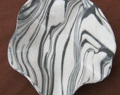 Ceramics and Pottery Small Bowl - Agateware Pottery Dish - Zebra Striped Black and White Marbled Stoneware - Handmade Bowl