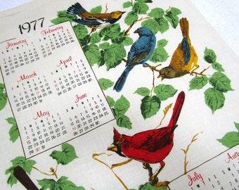 Linen Wall Calendar Song Birds 1977