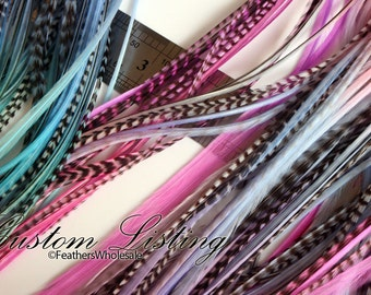 Custom Hair Feather Kit Pastel Purple Pink Blue Feather Hair Extensions Rose Pink Baby Blue Feather Extensions x20Pack