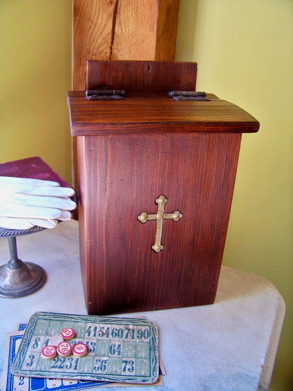 Vintage Church Offering Box Religious Pine Brass Cross
