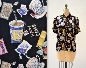 90s Vintage Nicole Miller Silk Shirt Size Large with Food Coffee Tea Sugar Print