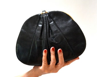 Vintage Judith Lieber Evening Bag Black Snake Skin Clutch// Vintage Designer Judith Lieber Black Leather Clutch with Gold Comb and Mirror