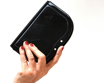 Vintage Black Clutch Hard Case Acrylic and Leather Made in Italy// Vintage Black Evening Bag Saks Fifth Avenue