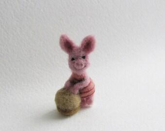 Piglet needle felted miniature