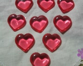 12 red plastic HEARTS 7/8 in puffy decorations