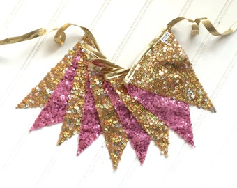 Gold & Pink Sequin Pennant Fabric Banner - Bunting, Party Decoration, Photo Prop